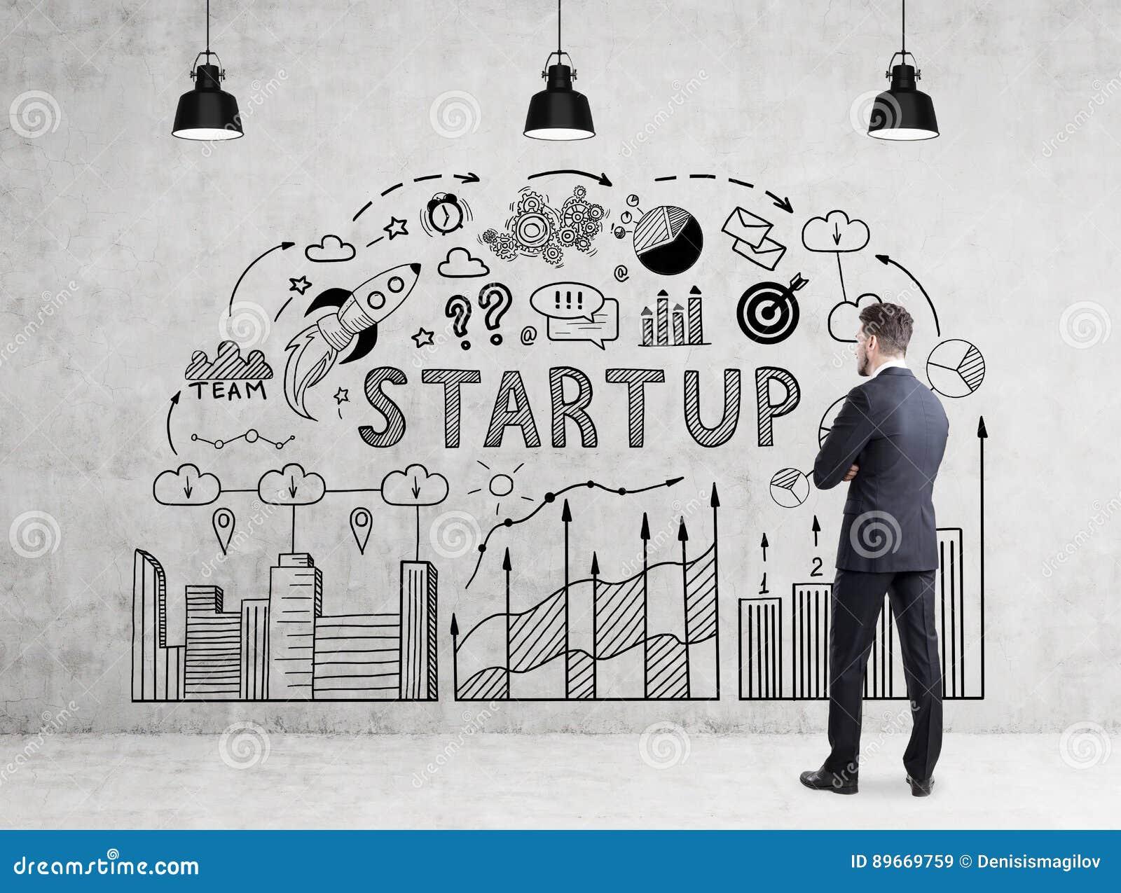 Man Looking At Start Up Diagram Stock Image - Image of entrepreneur ...