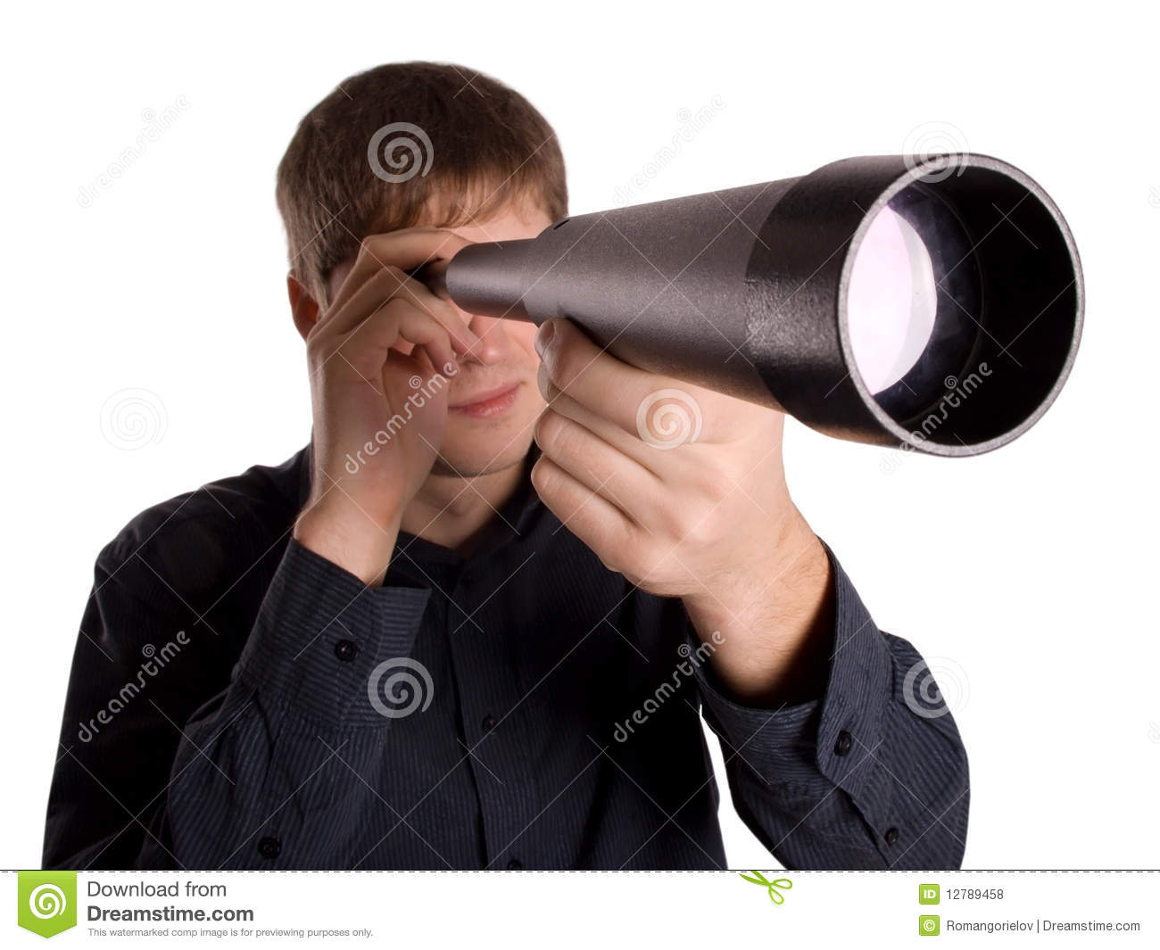 Man Looking Through A Telescope Stock Photo - Image: 12789458