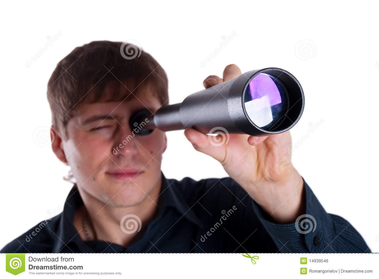 Man Looking Through A Telescope Royalty Free Stock Image ...