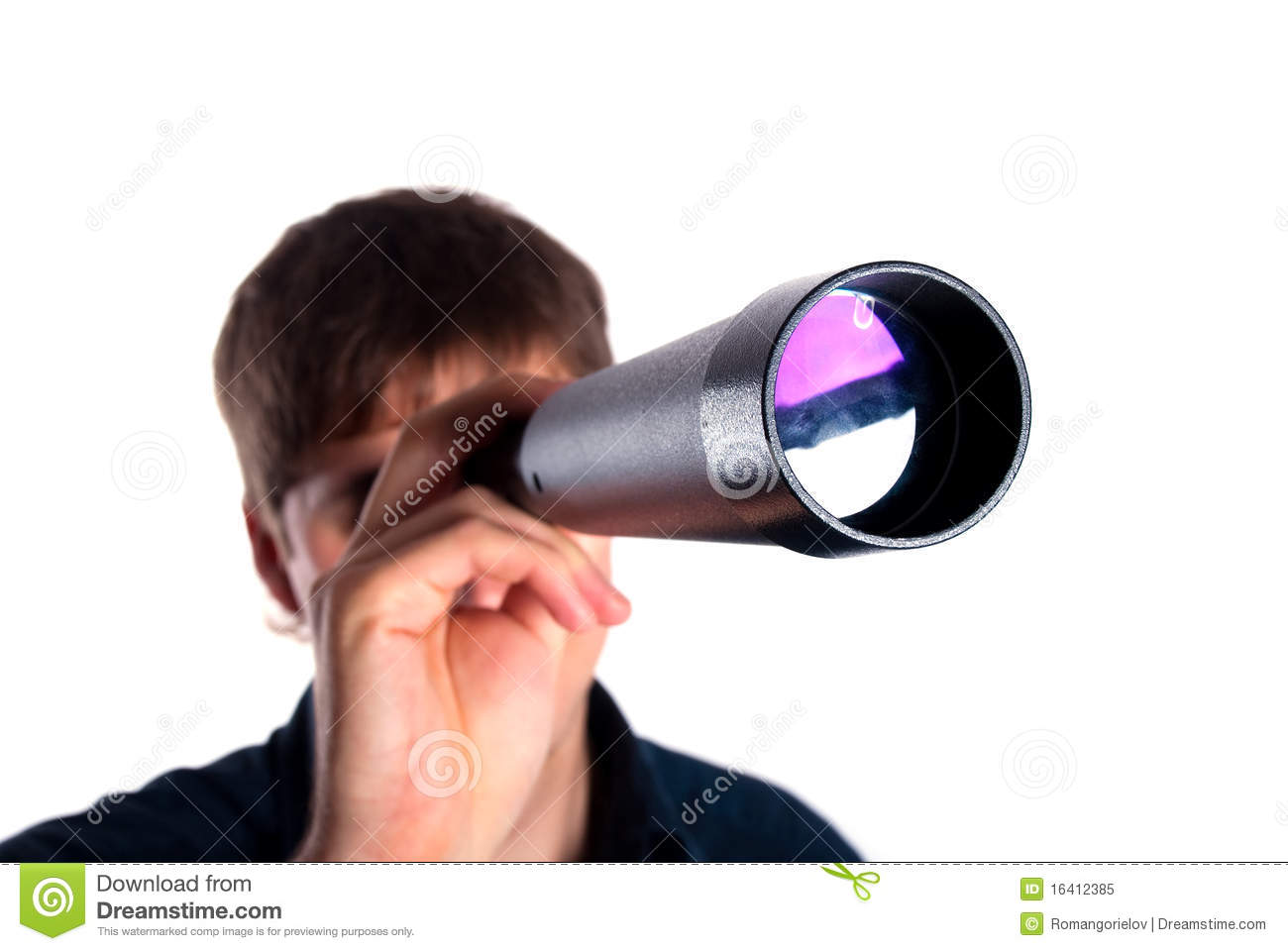 Man Looking Through A Telescope Royalty Free Stock Photo ...