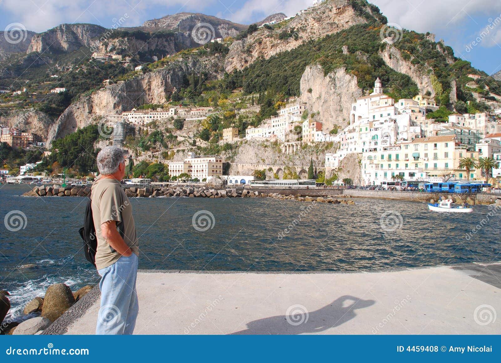Man looks at Amalfi Italy