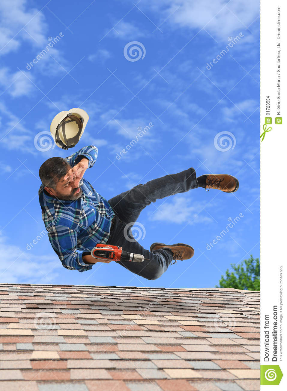 Man Loosing Balance on Top of Roof