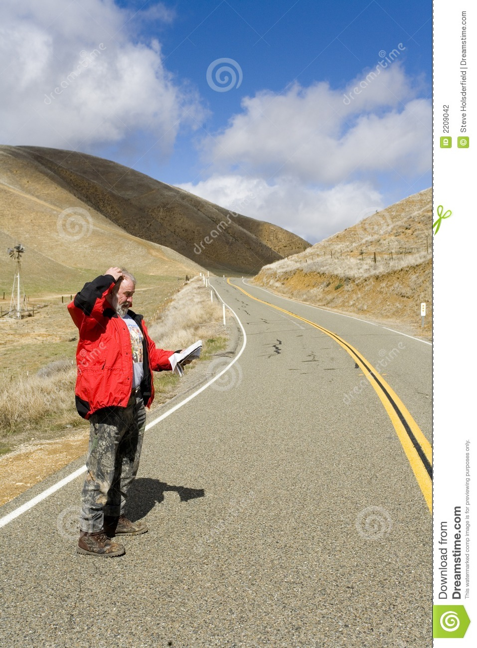 Time Road Id Roblox: Man Lost On A Desolate Road Stock Photography