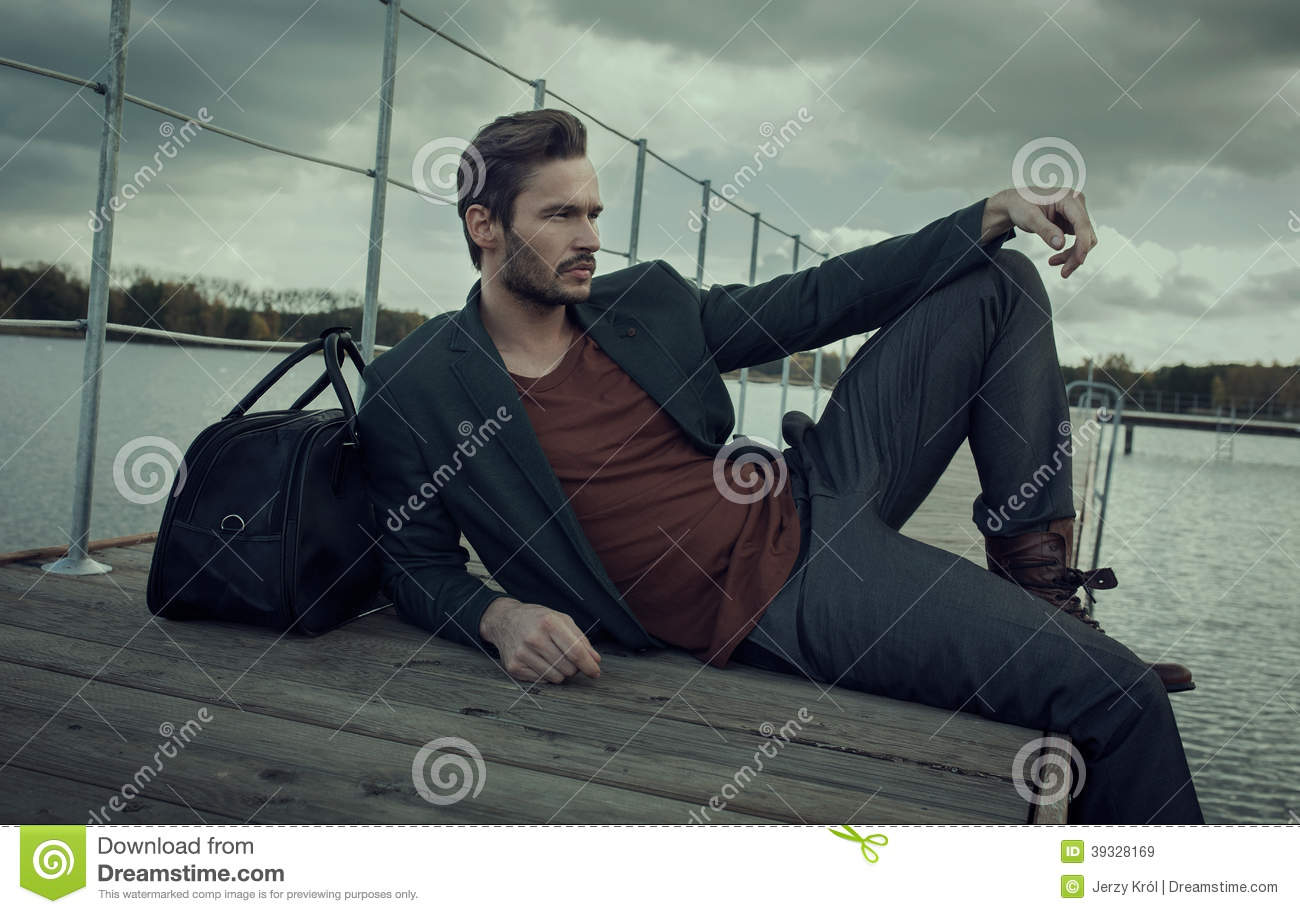 Man Lounging On Deck Stock Photo Image 39328169