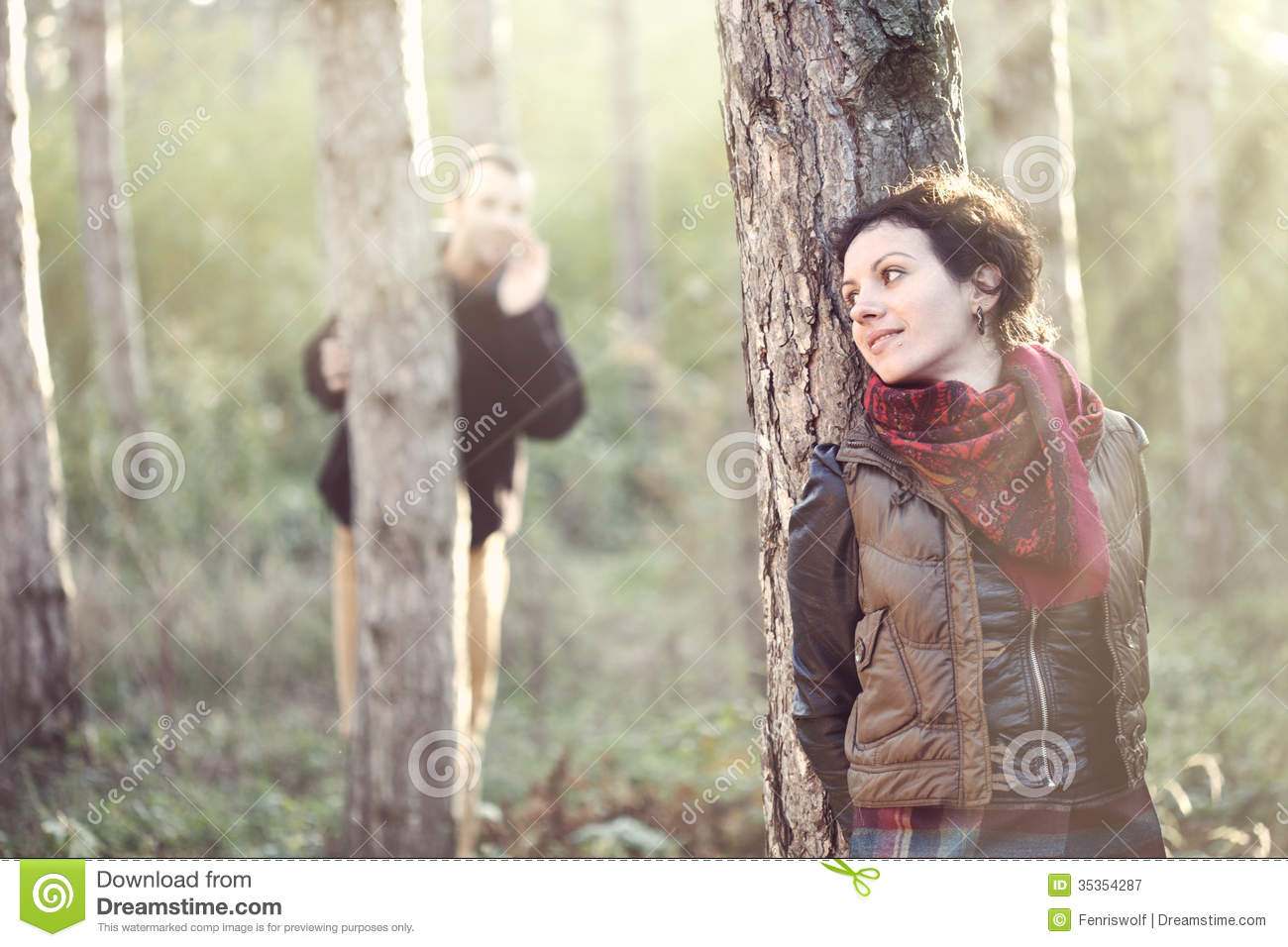 Man In Love Looking For His Girlfriend In The Forest Royalty Free ...