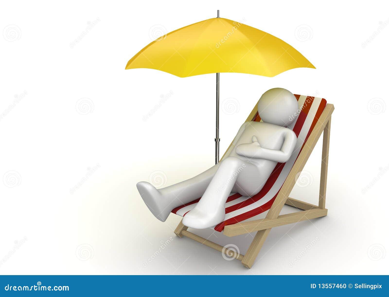 Beach chair with umbrella - Man Lying On A Beach Chair Ynder Umbrella Stock Photo