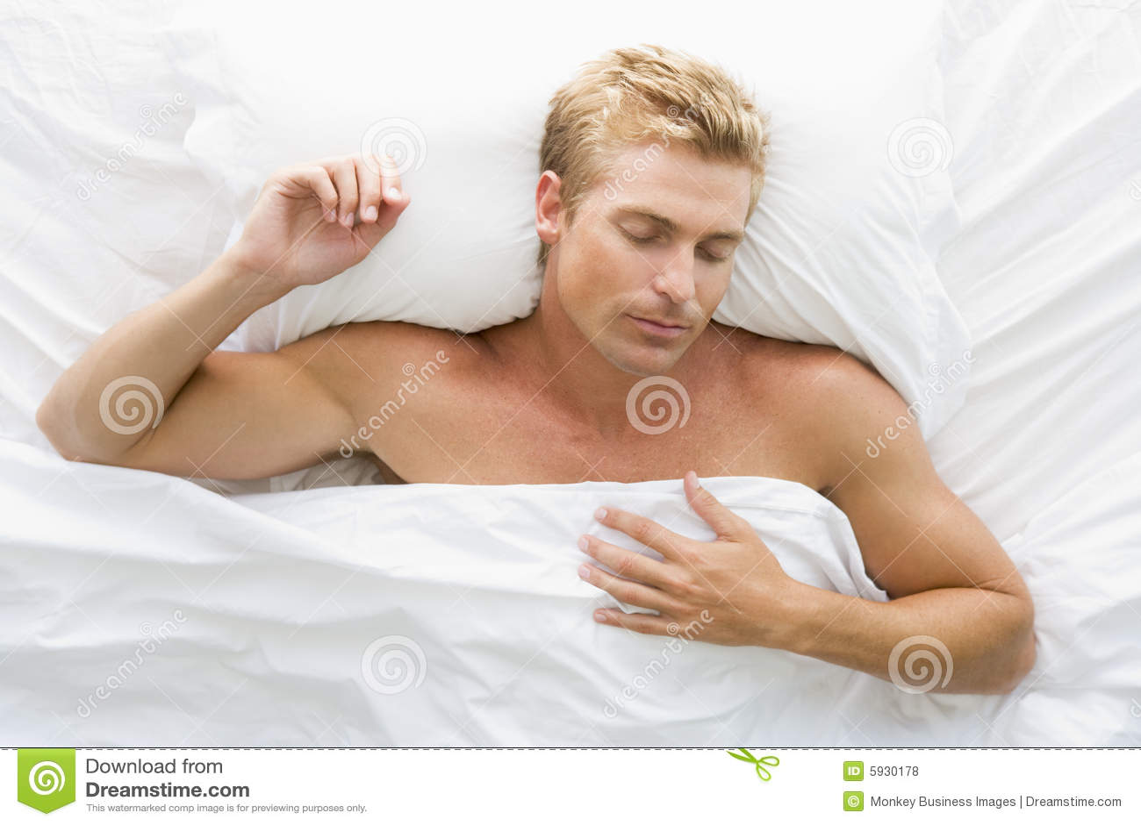 man lying in bed stock photo. image of half, horizontal - 5930178