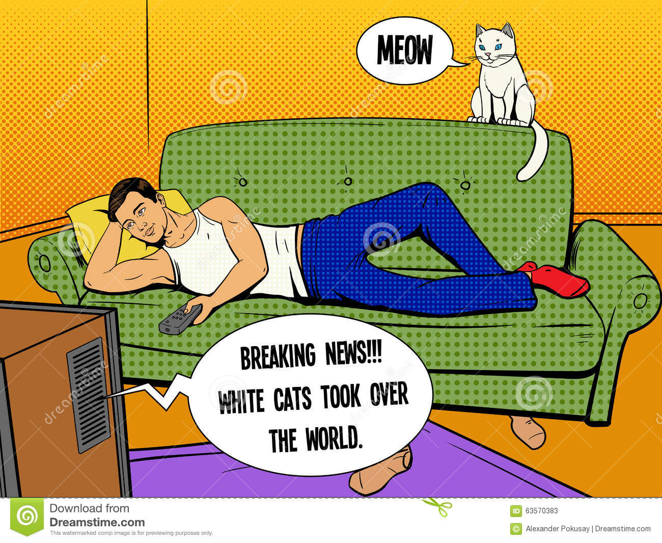 Man Lying On Couch Watching Tv Comic Book Style Stock Vector