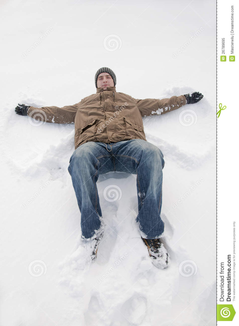 Man Lying On The Snow Stock Image. Image Of Outdoor