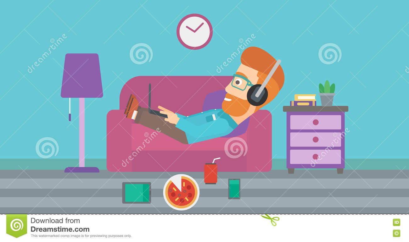 Man lying on sofa with many gadgets stock vector for Top 10 living room gadgets