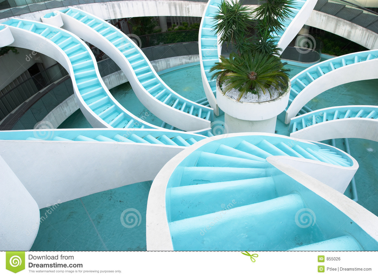 Spiralling converging waterfall, fountain, spiraling and convergene ...