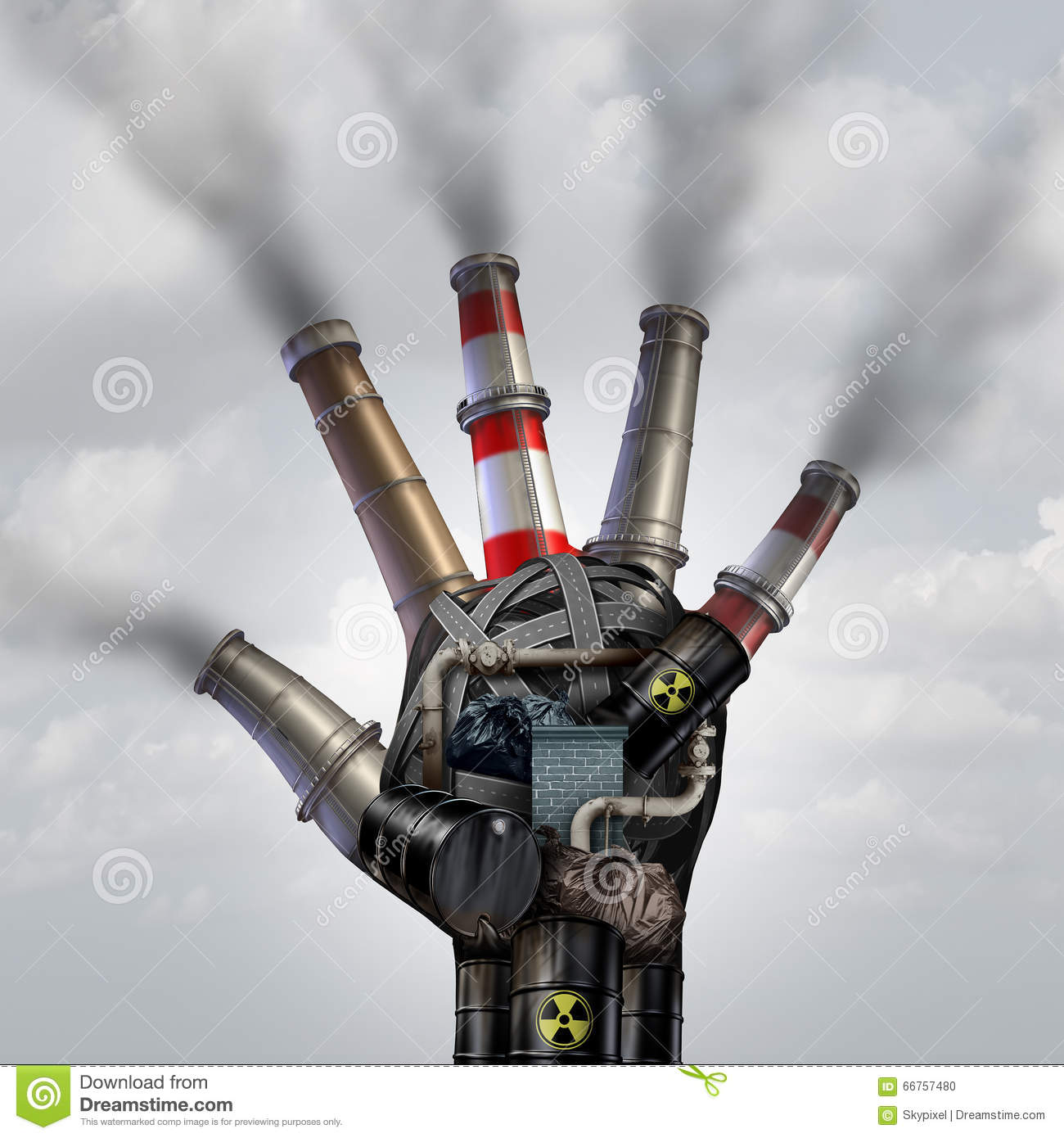 Man made pollution toxic smoke stop symbol as a dirty industrial