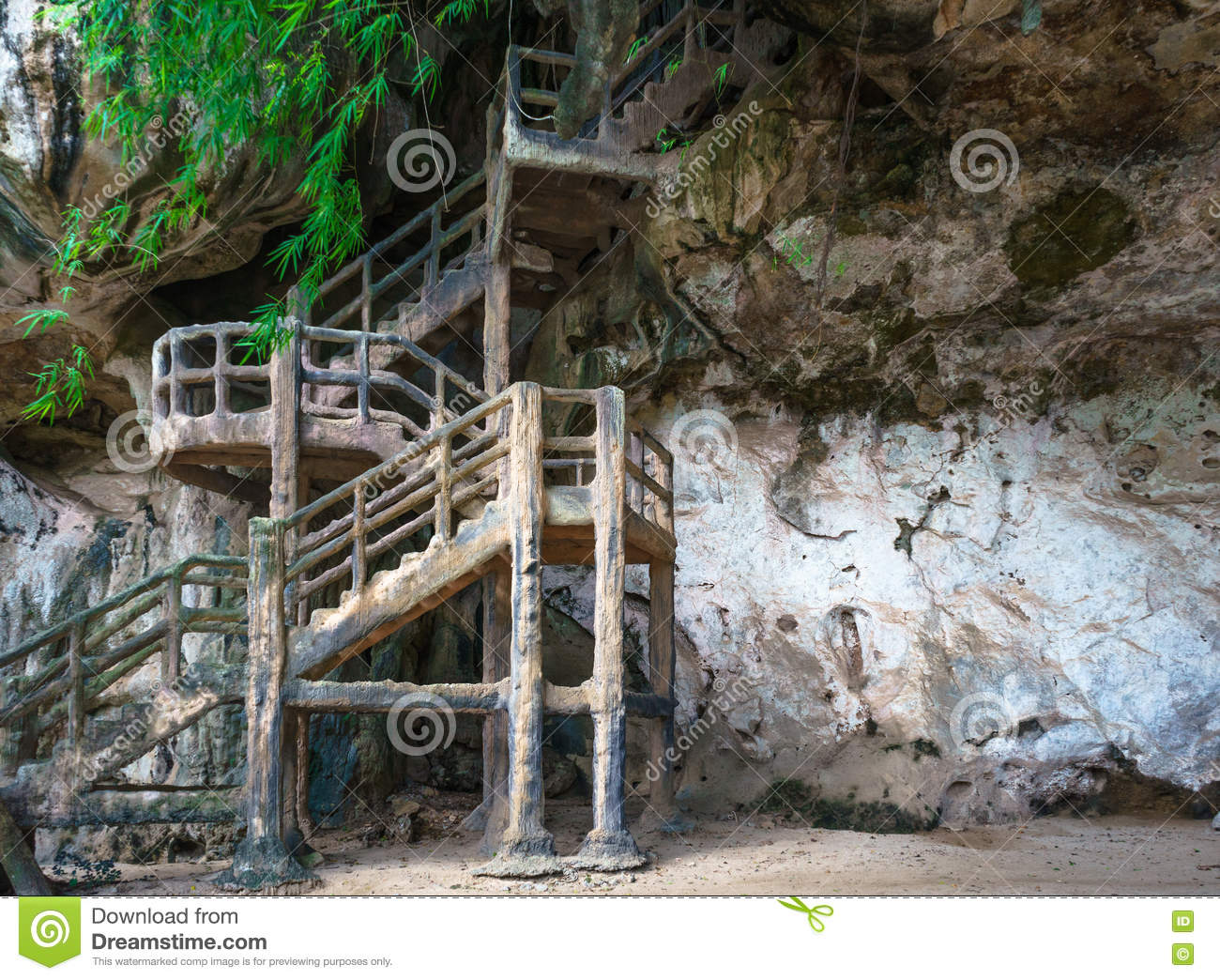 Man made stairs upto cave on rocky cliff
