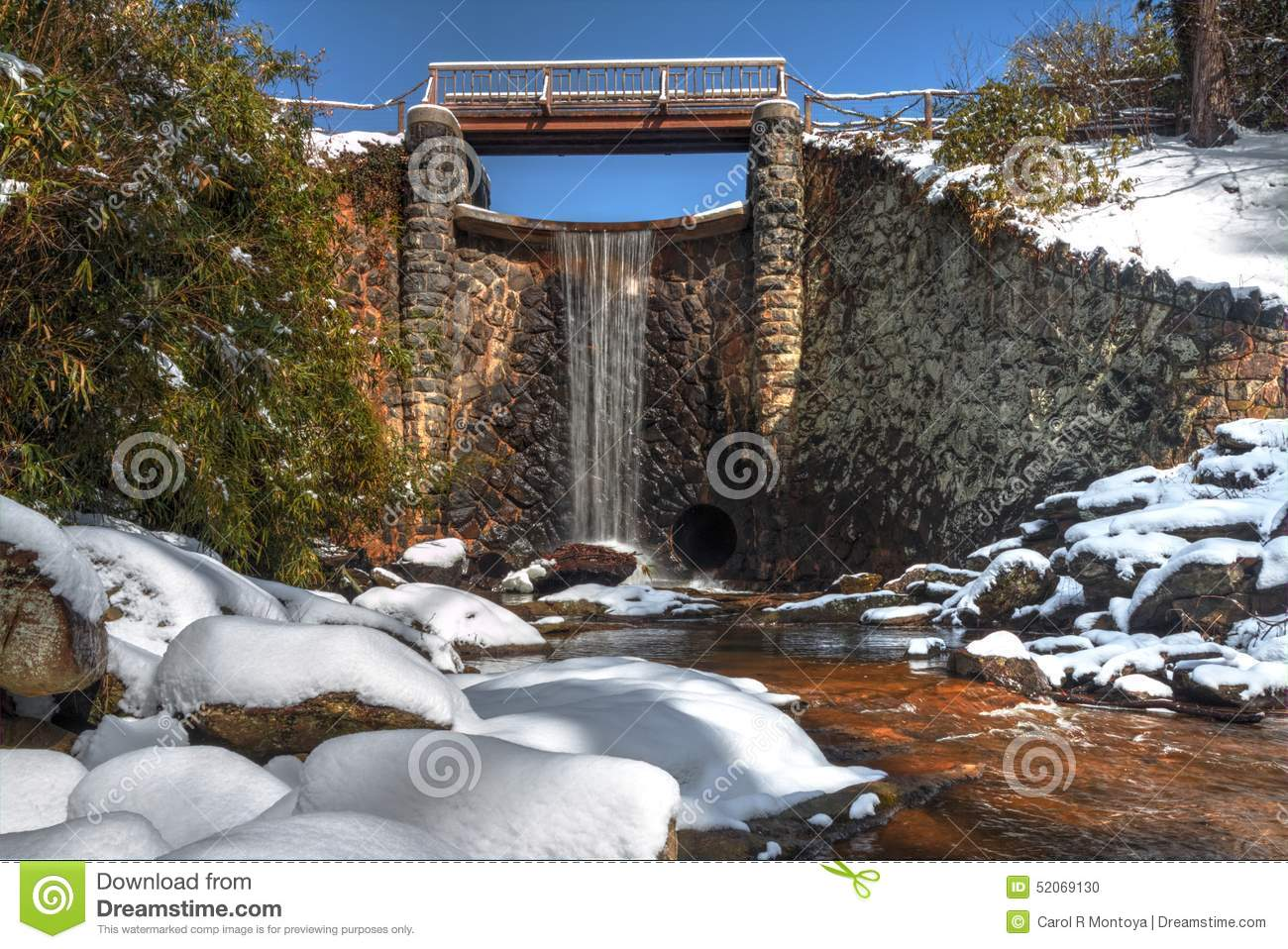 Man made waterfall in snow in asheville north carolina for Bass pond design