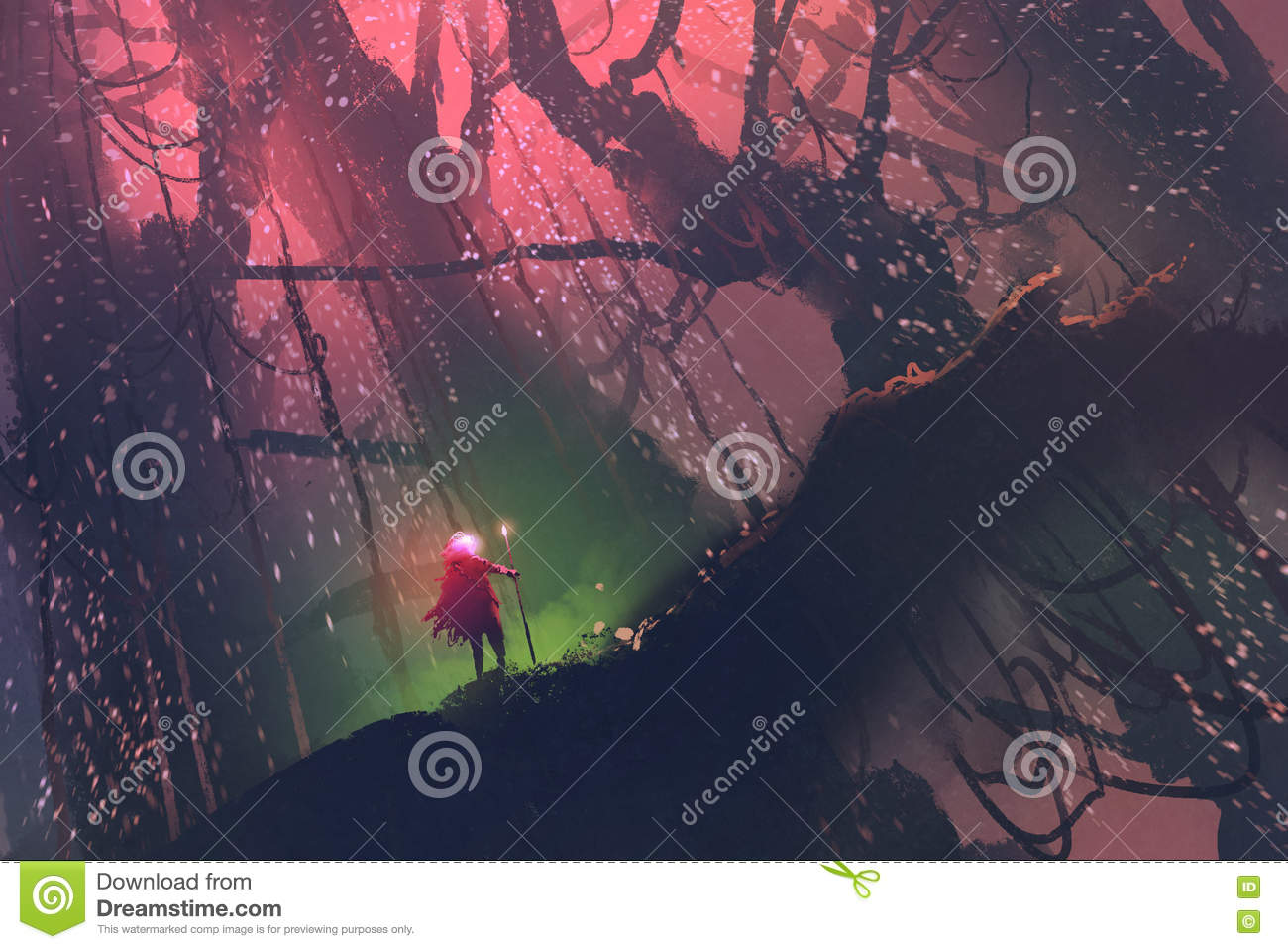 Man with magic pole walking on giant tree in enchanted forest