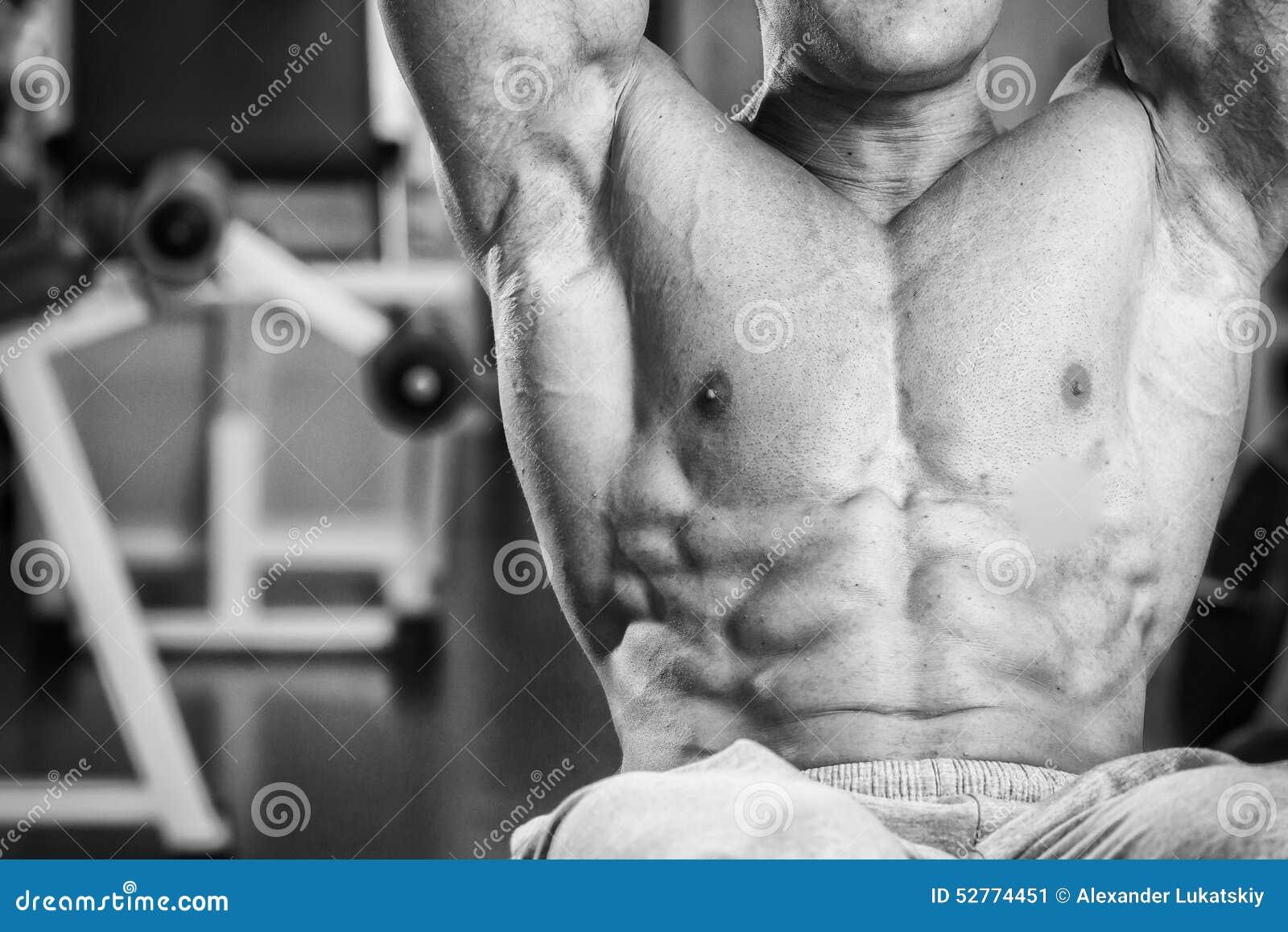 Man makes exercises