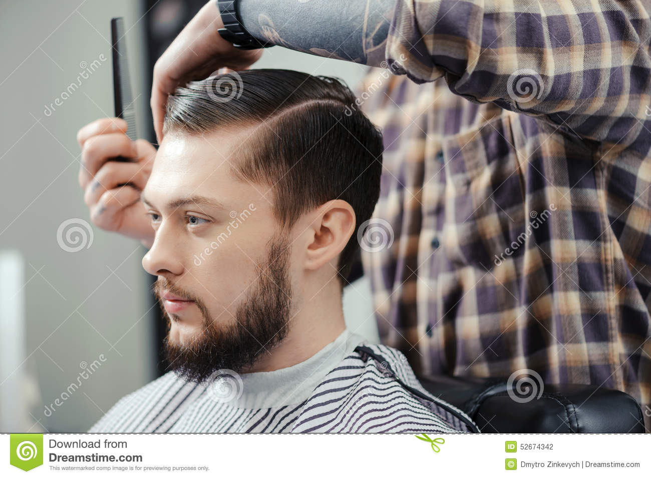 Fabulous Man Makes A Haircut At Barbershop Stock Photo Image Of Hairdryer Natural Hairstyles Runnerswayorg