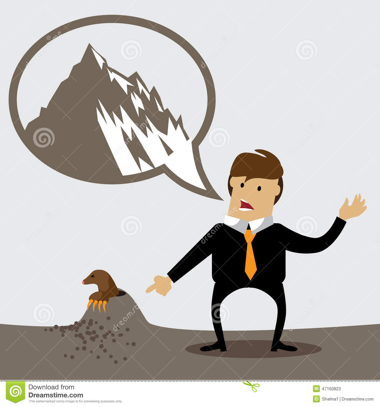 man-making-mountain-out-molehill-eps-vec