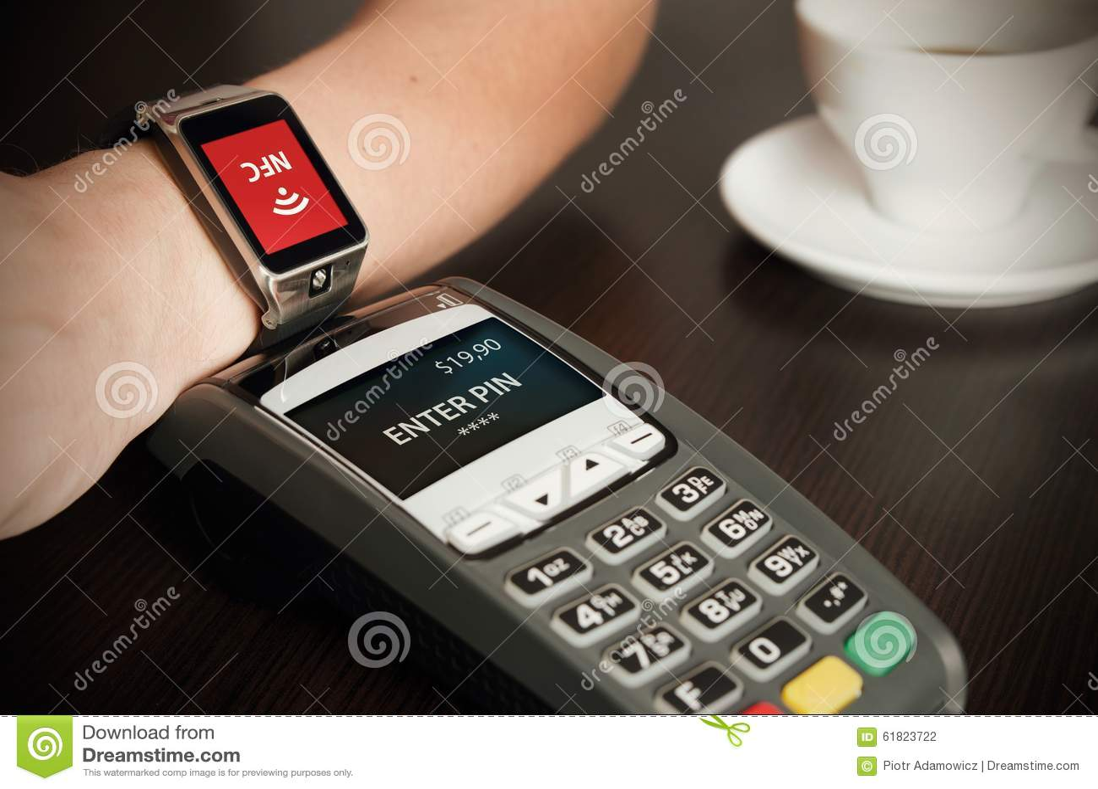Man Making Payment Through Smartwatch Via NFC Technology ...