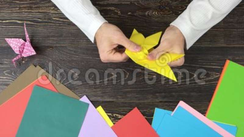 Man Making Yellow Paper Butterfly Stock Footage Video Of Creative