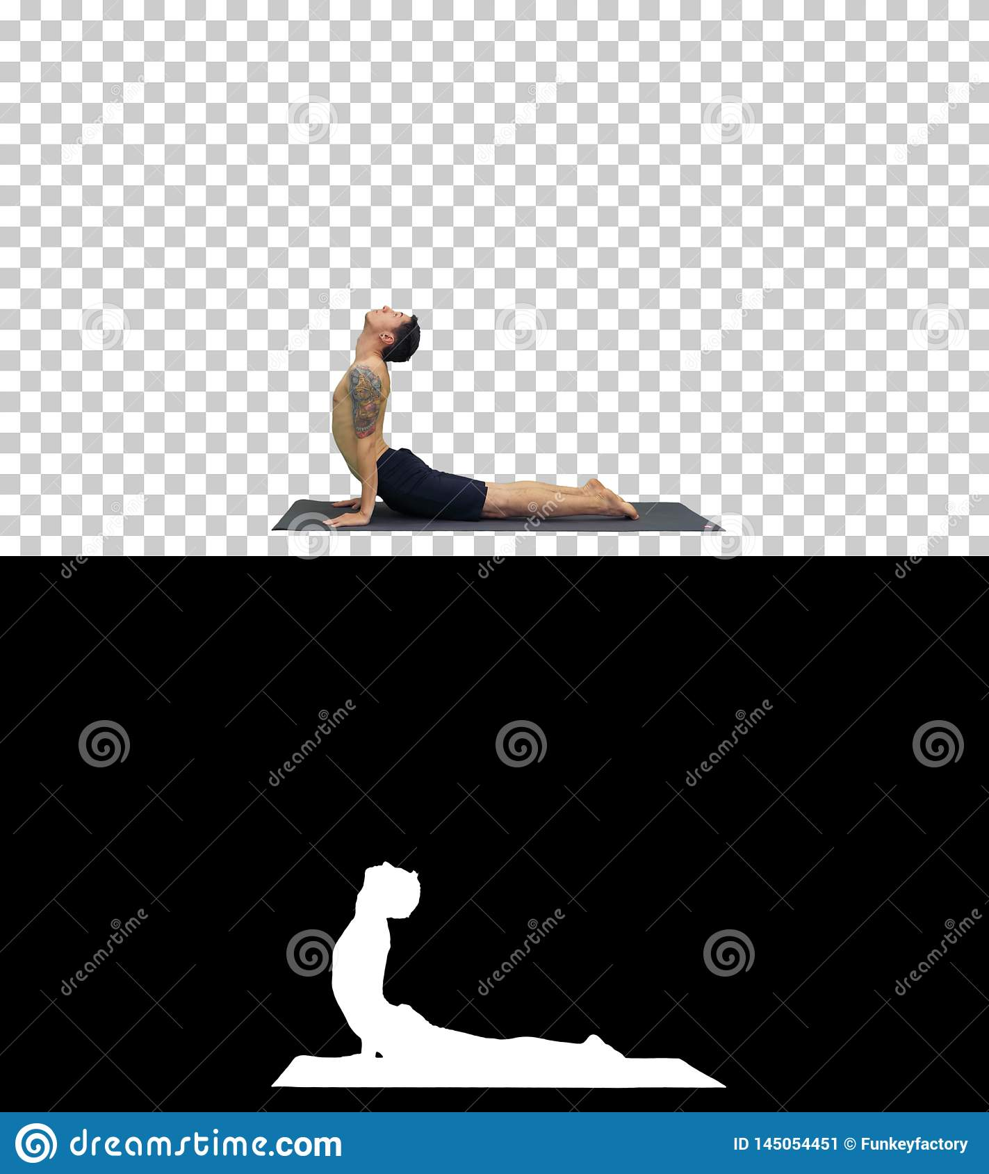 Man is making yoga poses, Alpha Channel
