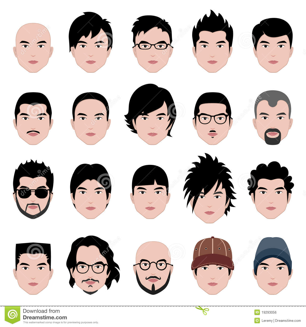 Man Male Face Head Hair Hairstyle Stock Vector Illustration Of