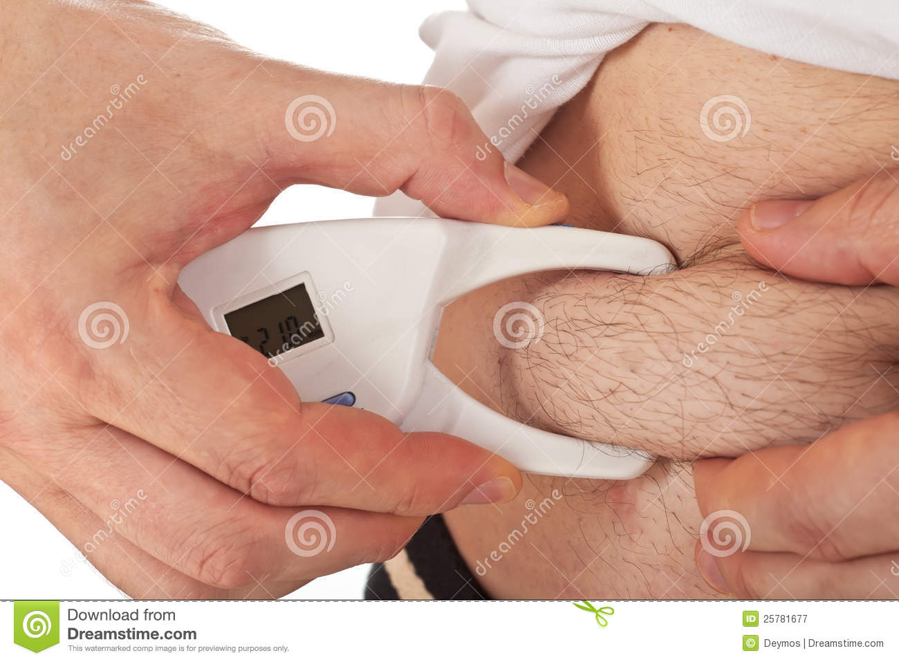 Man Measuring Body Fat With Caliper Royalty Free Stock Photography ...