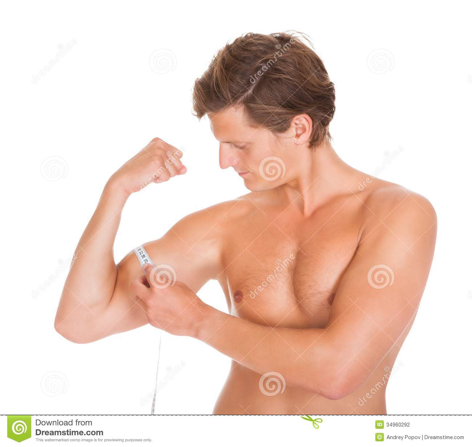 man measuring his biceps stock photography image 34960292. Black Bedroom Furniture Sets. Home Design Ideas