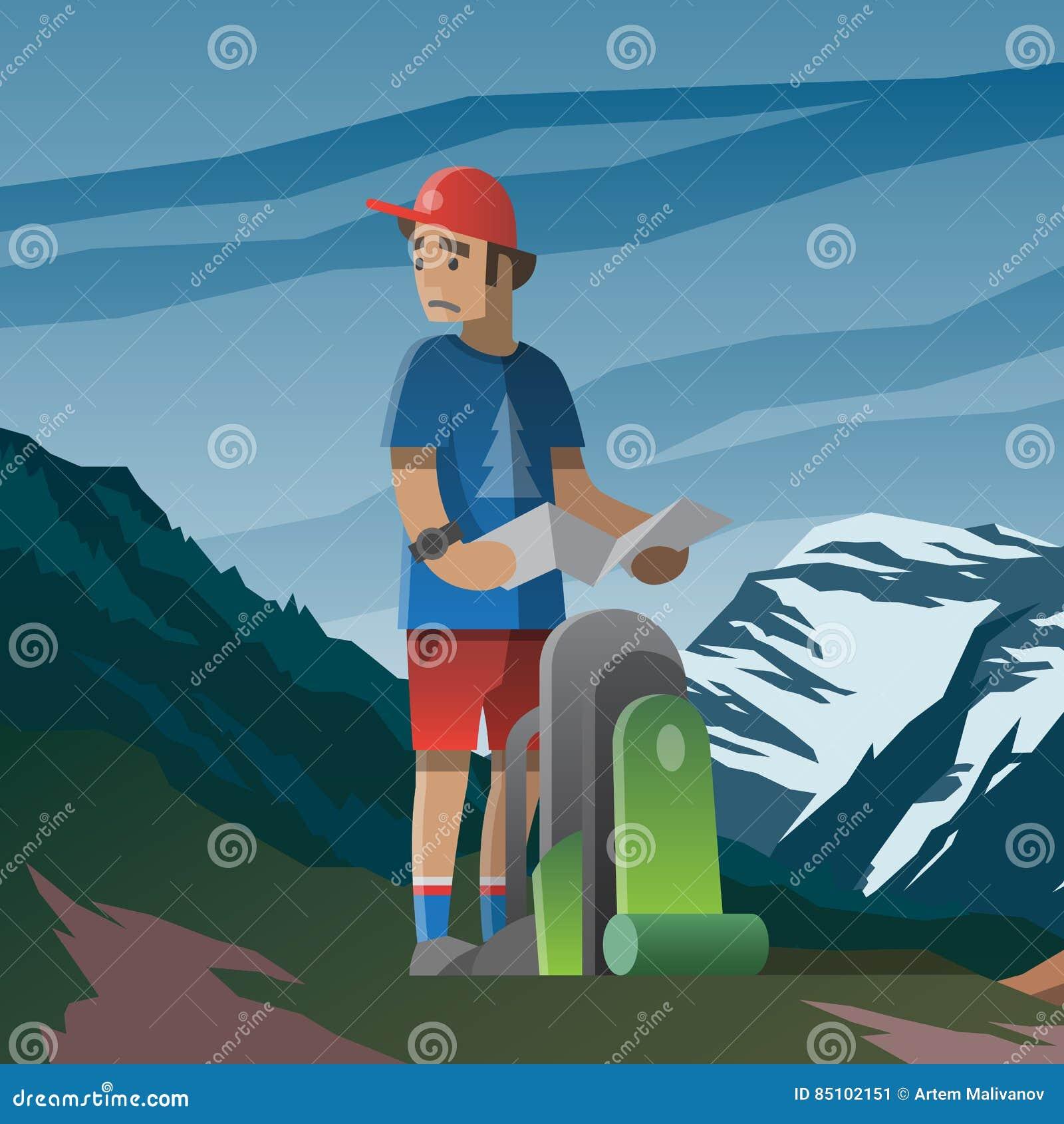 Man med översikten och ryggsäck som är borttappad i bergen