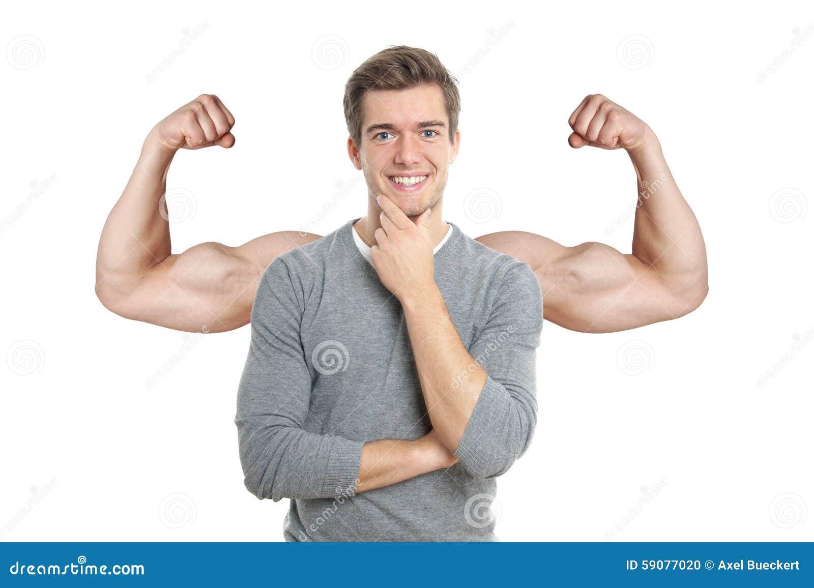 Man med lade över muskulösa armar