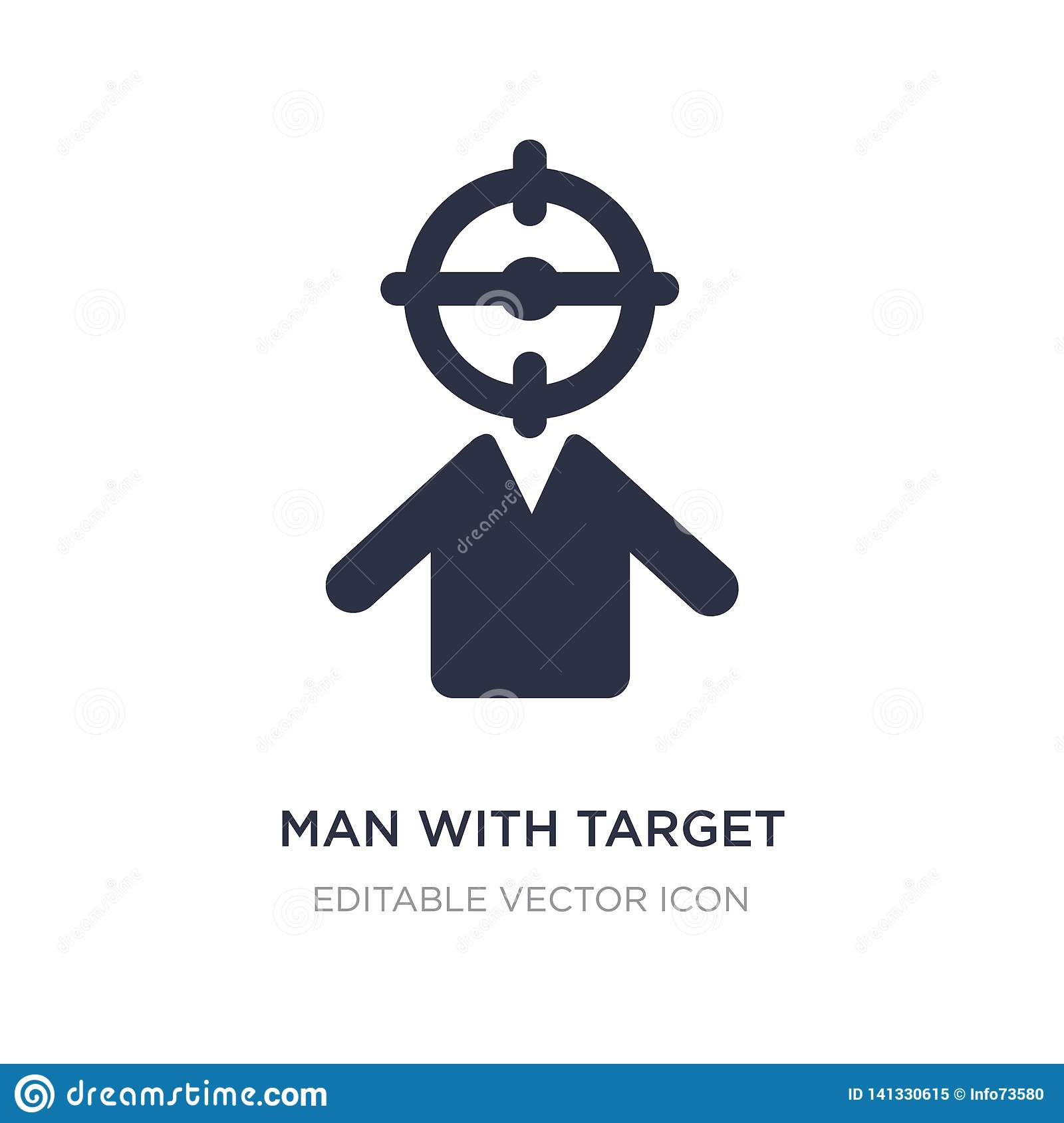 Man med målsymbolen på vit bakgrund Enkel beståndsdelillustration från folkbegrepp