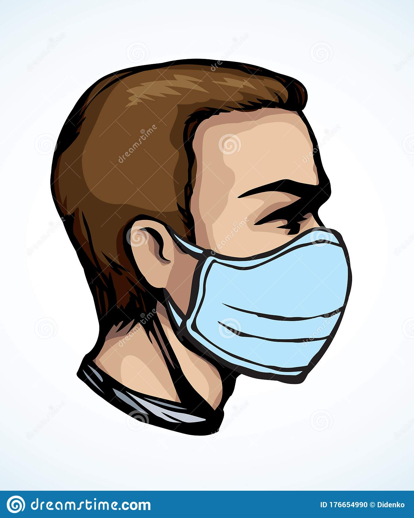 Man In Medical Mask In Profile Vector Drawing Stock Vector Illustration Of Character Health 176654990