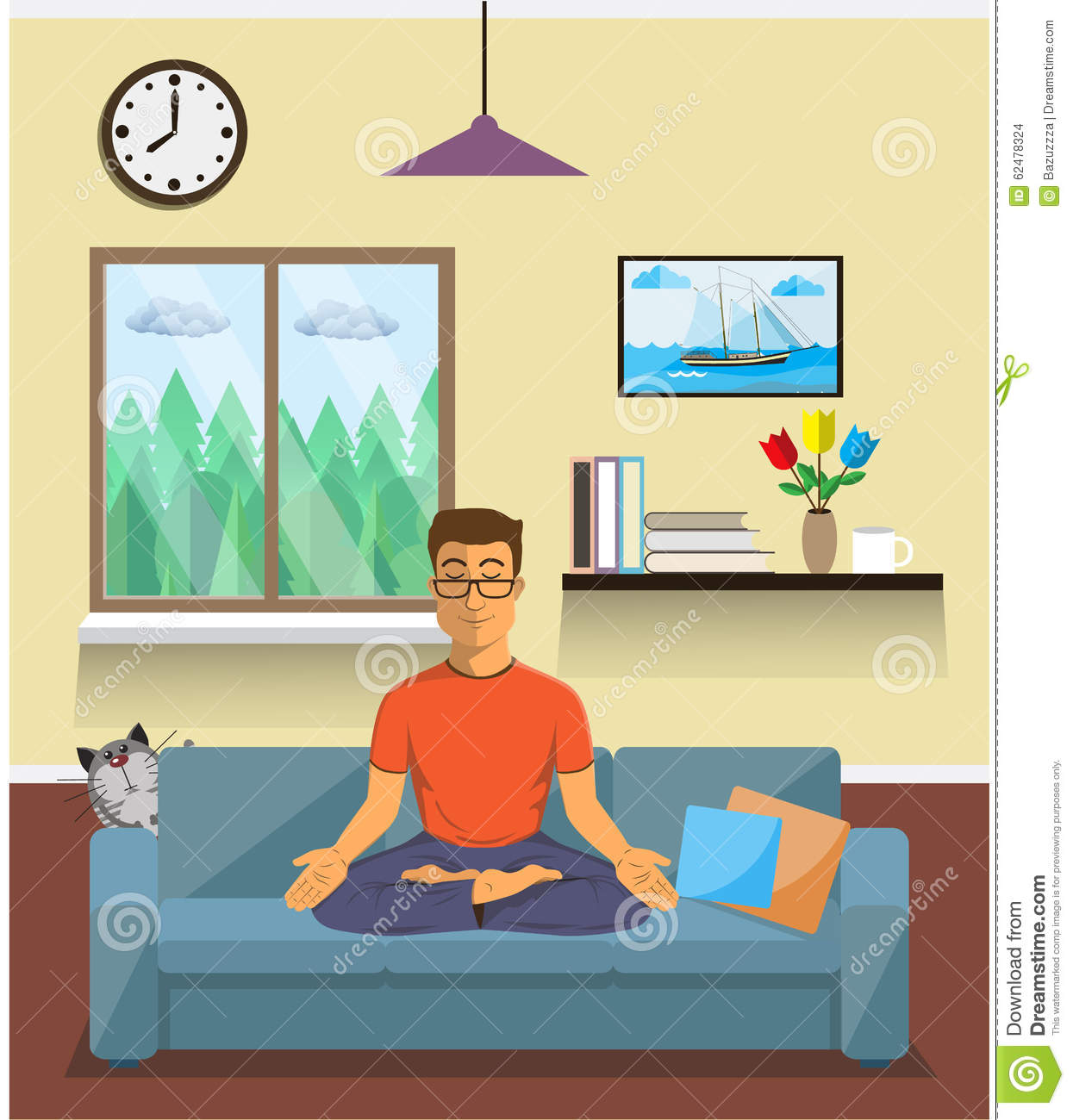 Man Meditates In The Yoga Lotus Position. Home Interior.