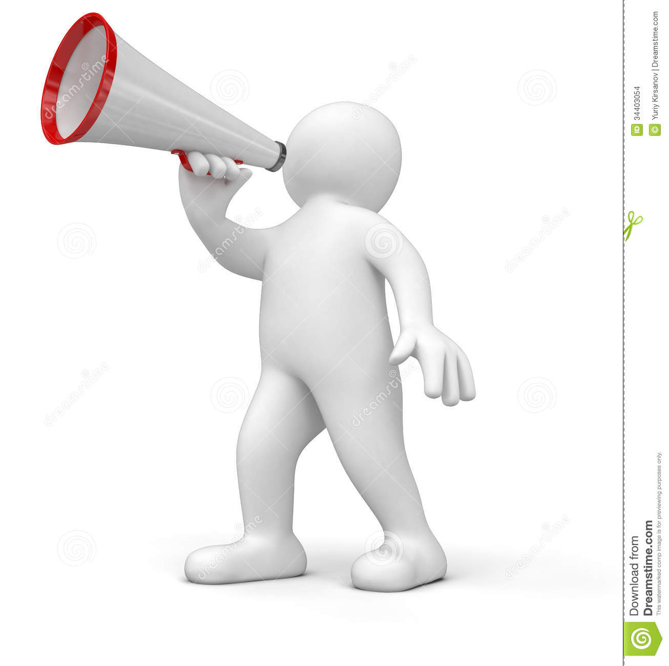 Man with megaphone. Image with clipping path.