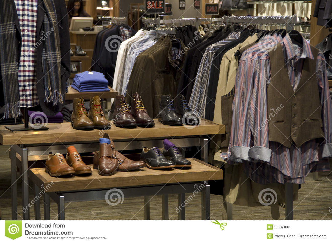 The basement clothing and shoe store