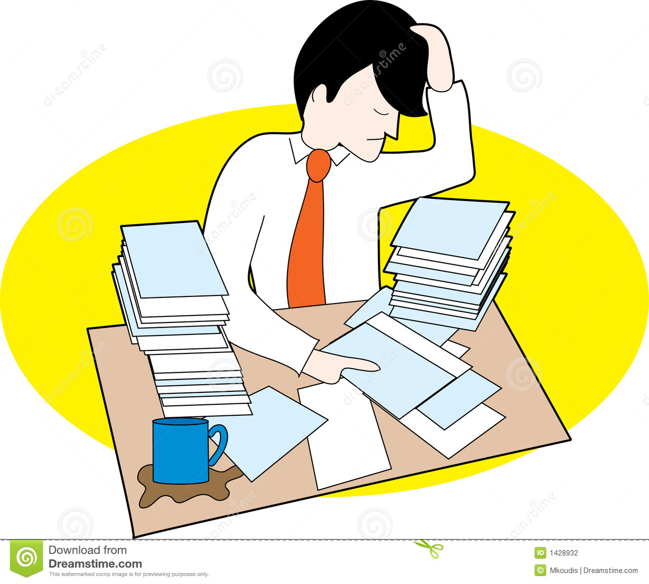 man with messy desk stock vector. illustration of upset - 1428932