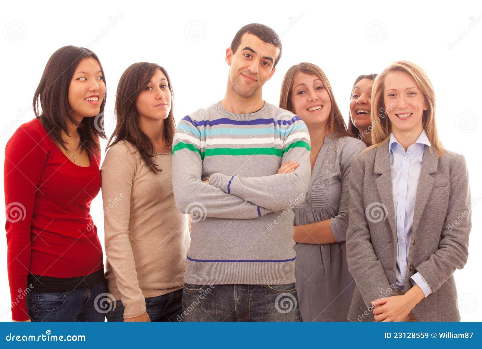 Man met Vele Vrouwen stock afbeelding. Afbeelding