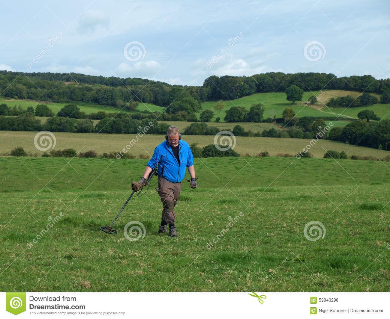 Jew Detector: Man Metal Detecting Stock Photo