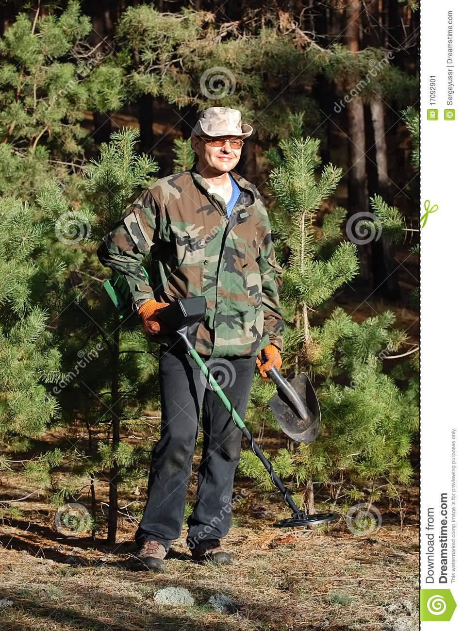 Jew Detector: Man With Metal Detector Stock Image