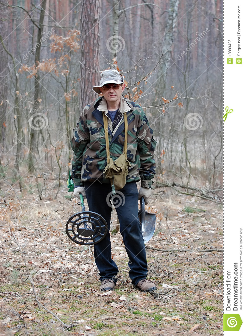 Jew Detector: Man With Metal Detector Royalty Free Stock Photo