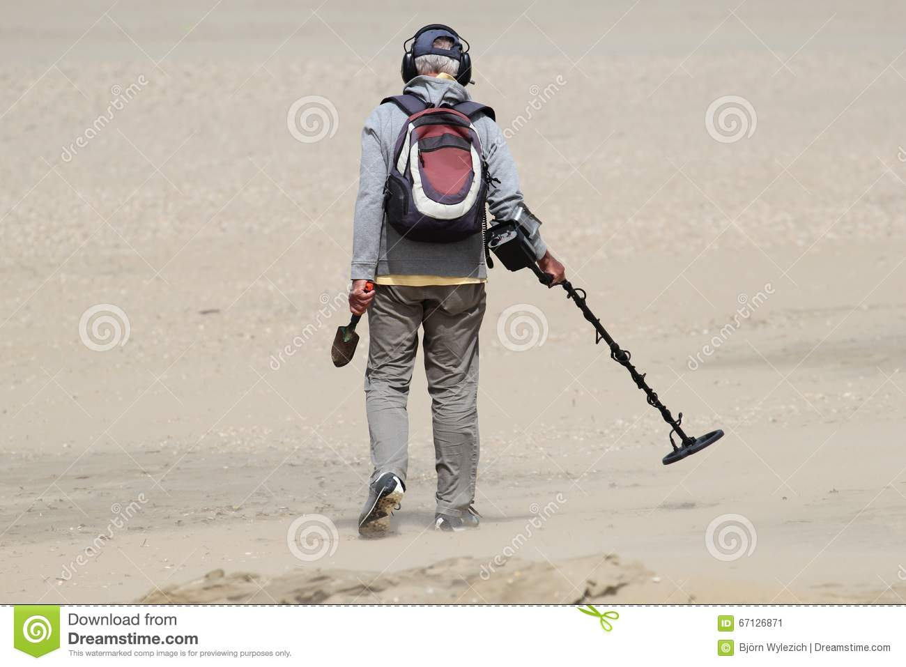 Jew Detector: Man Metal Detector Stock Photos