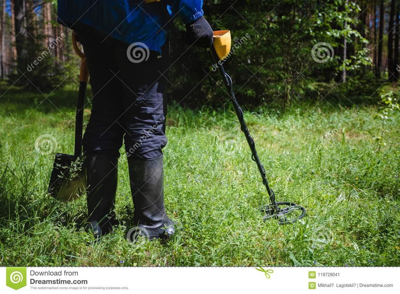 Jew Detector: A Man With A Metal Detector In The Woods Stock Image