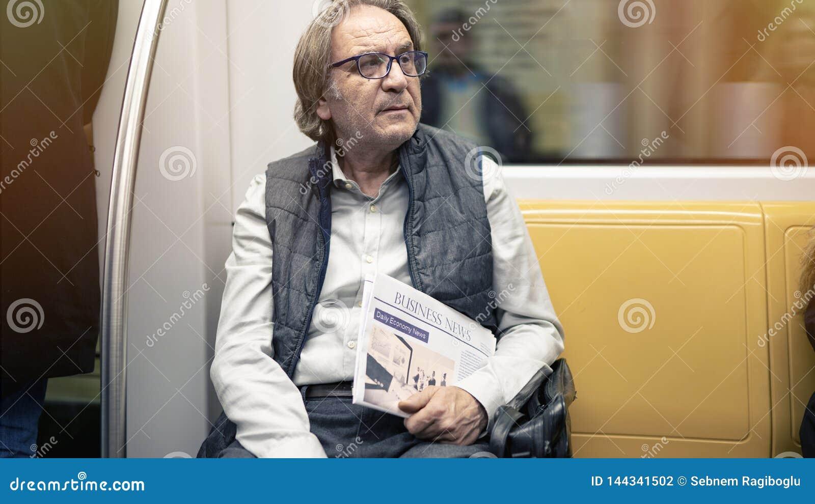 Man in the metro train