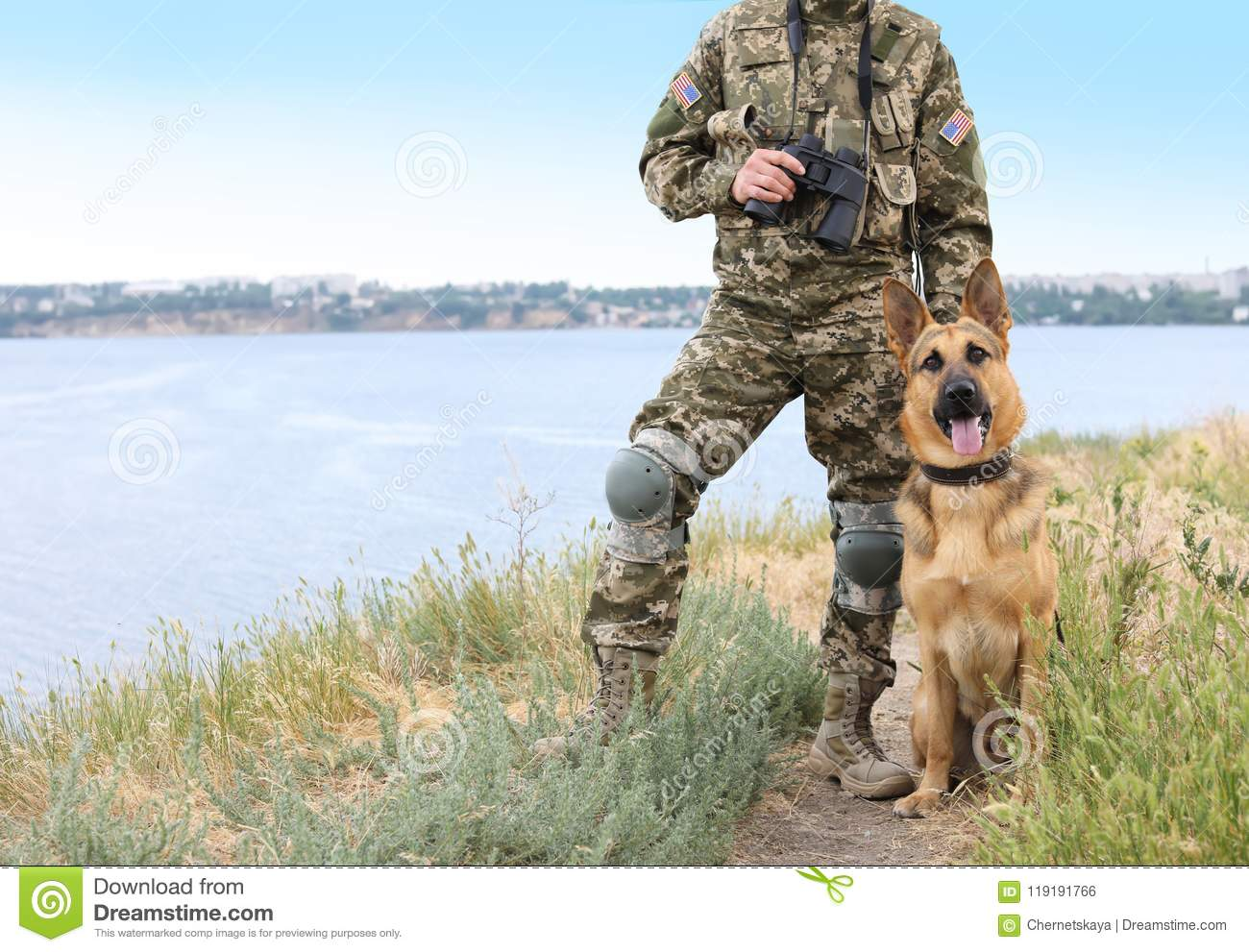 Man In Military Uniform With German Shepherd Dog Stock Photo Image