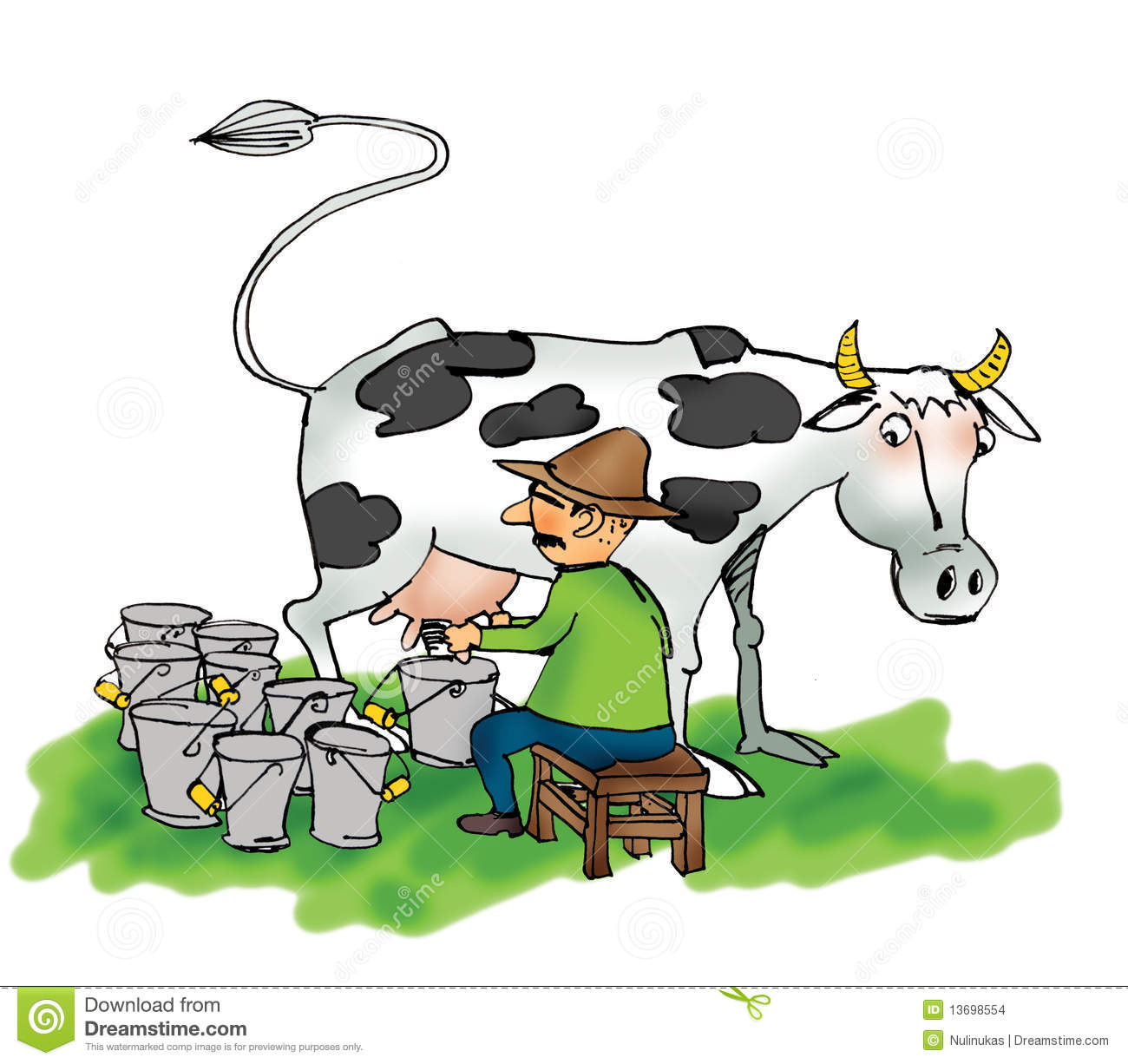 Man Milking A Cow Stock Images - Image: 13698554