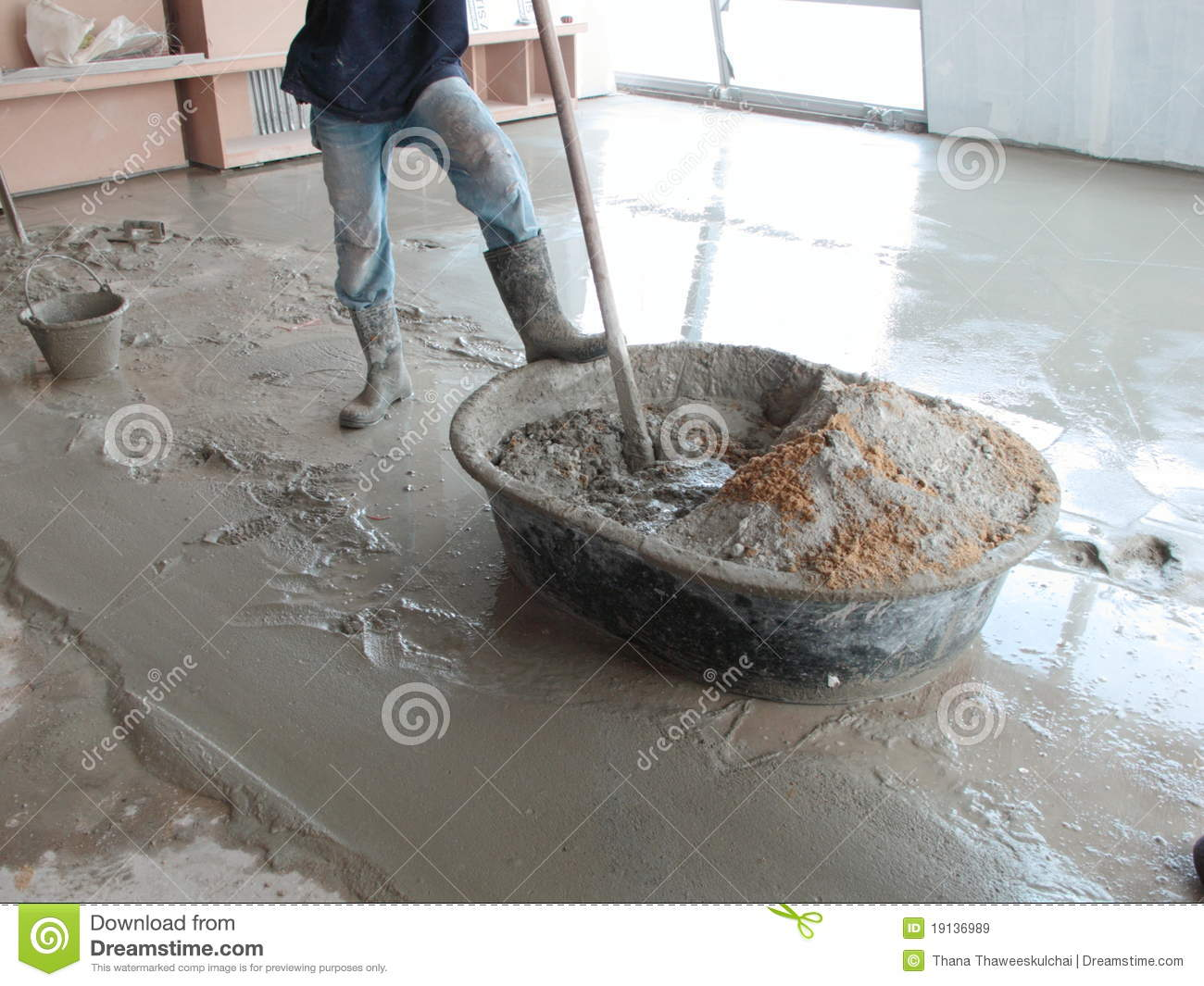 Man Mixing Cement Stock Image Image Of Structure