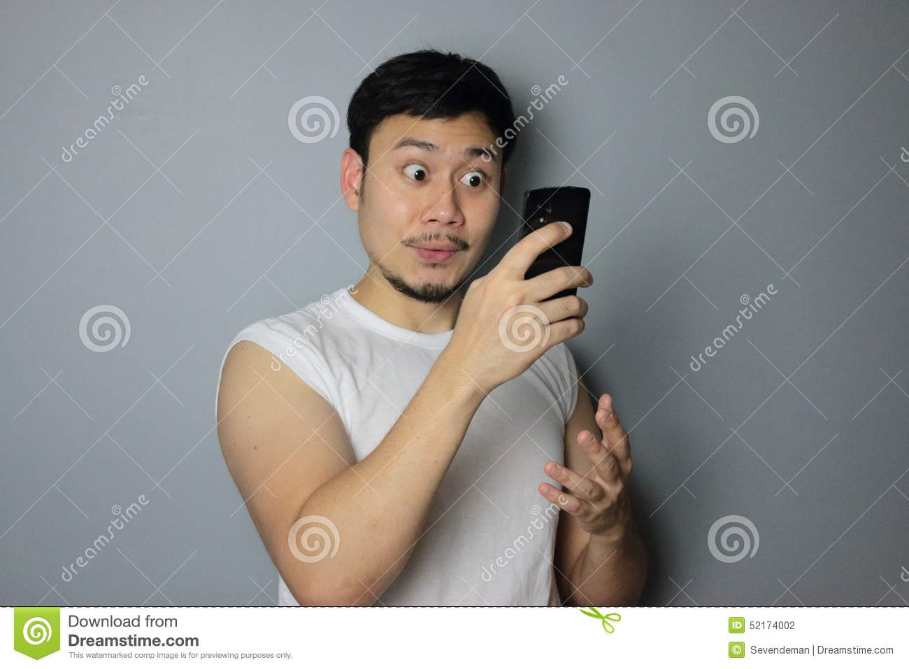 A man and mobile phone.