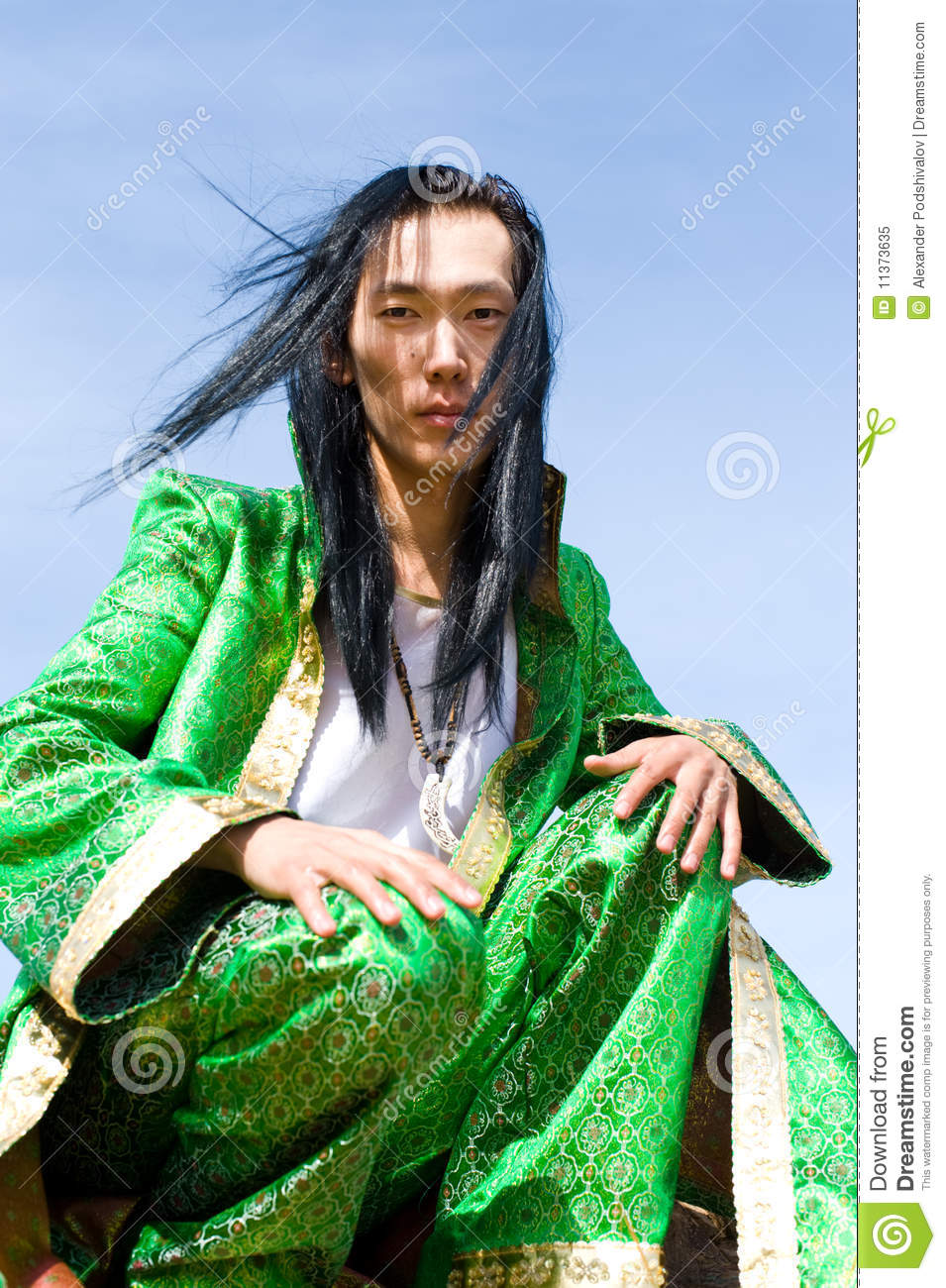 man in mongolian costume royalty free stock photo