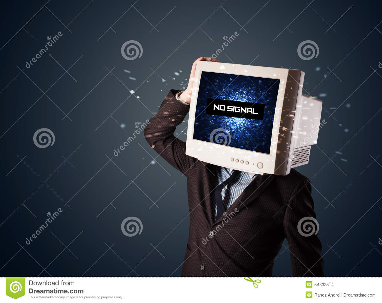 Man With A Monitor Head, No Signal Sign On The Display Stock Photo
