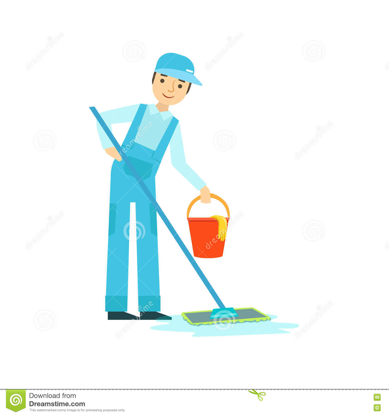 Man With Mop And Bucket Washing The Floor Cleaning